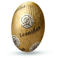 Vajíčko s karamelem a krystalky cukrové třtiny - Belgické pralinky Leonidas